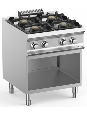 Gas stove with open base...