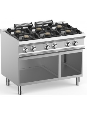 Gas stove with open base